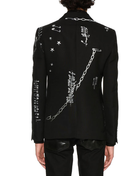 Safety-Pins Printed Evening Jacket, Black/White