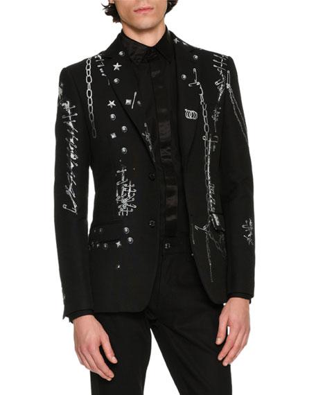 Safety-Pins Printed Evening Jacket, Black/White