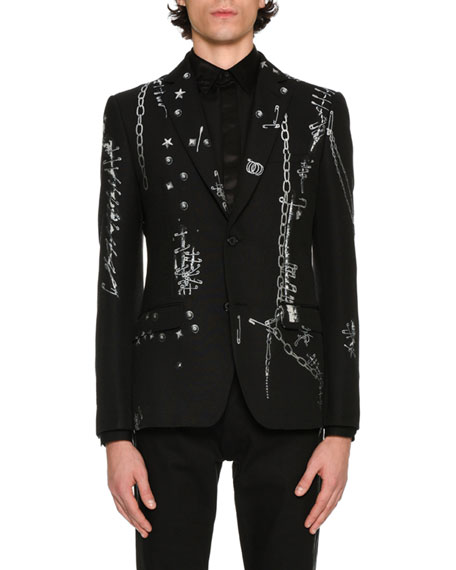 Alexander McQueen Safety-Pins Printed Evening Jacket, Black/White