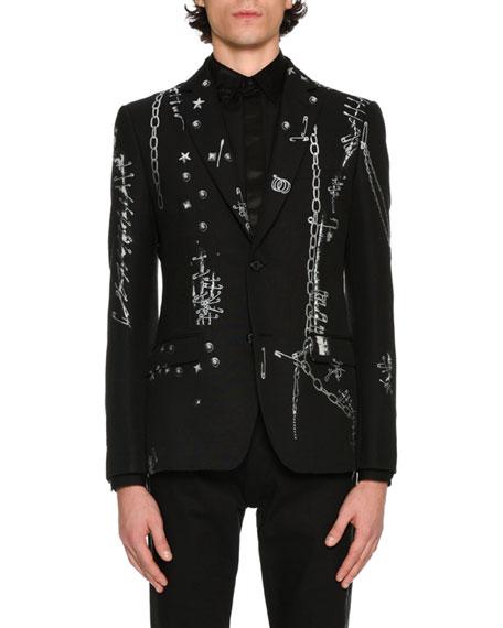 Alexander McQueen Safety-Pins Printed Evening Jacket, Black/White