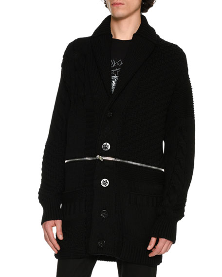 Alexander McQueen Oversized Zip-Panel Cardigan, Black