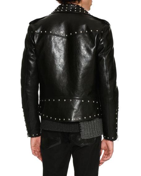 Studded Calf Leather Moto Jacket, Black