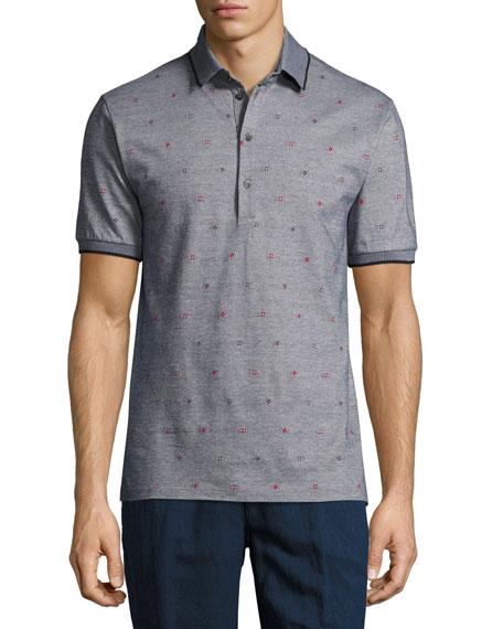 Etro Mixed-Dot M??lange Polo Shirt, Gray