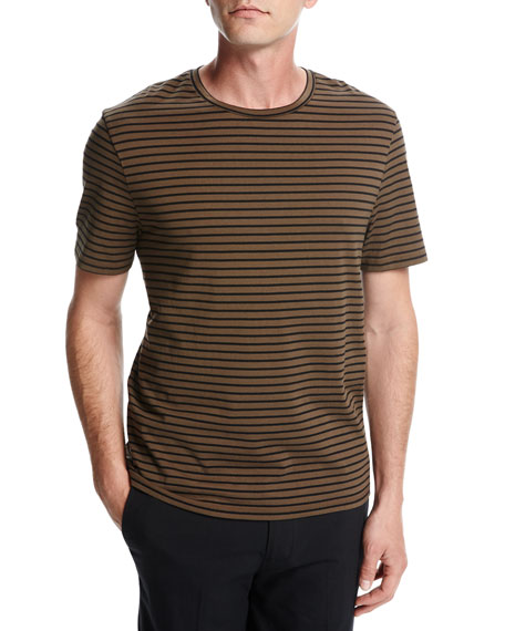 Vince Narrow-Stripe Crewneck T-Shirt, Brown/Black