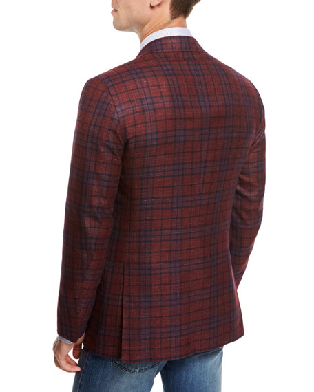 Plaid Cashmere-Silk-Linen Sport Coat, Red