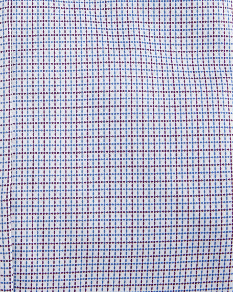 Graph-Check Cotton Dress Shirt, White/Red/Blue