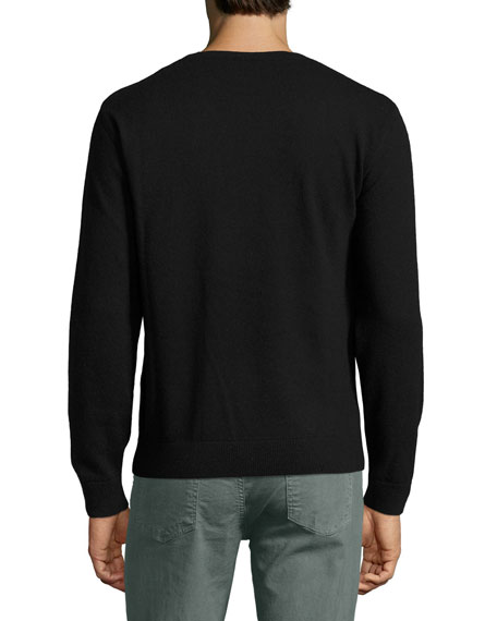 Love Blade Wool-Cashmere Crewneck Sweater, Black