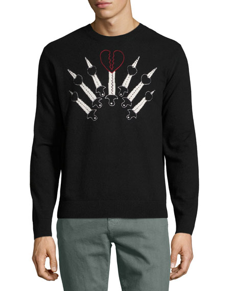 Valentino Love Blade Wool-Cashmere Crewneck Sweater, Black