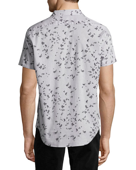 Zack S. Leaflet Linen-Cotton Short-Sleeve Shirt, Gray