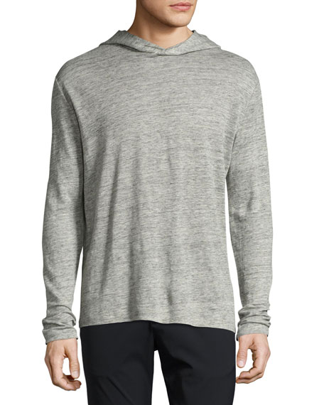 Theory Colton Zephyr Melange Linen Pullover Hoodie, Gray