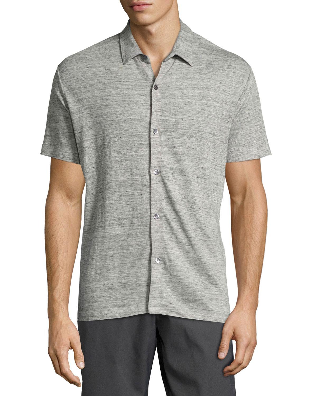 981514d6e1e Theory Zephyr Linen Knit Button-Front Shirt