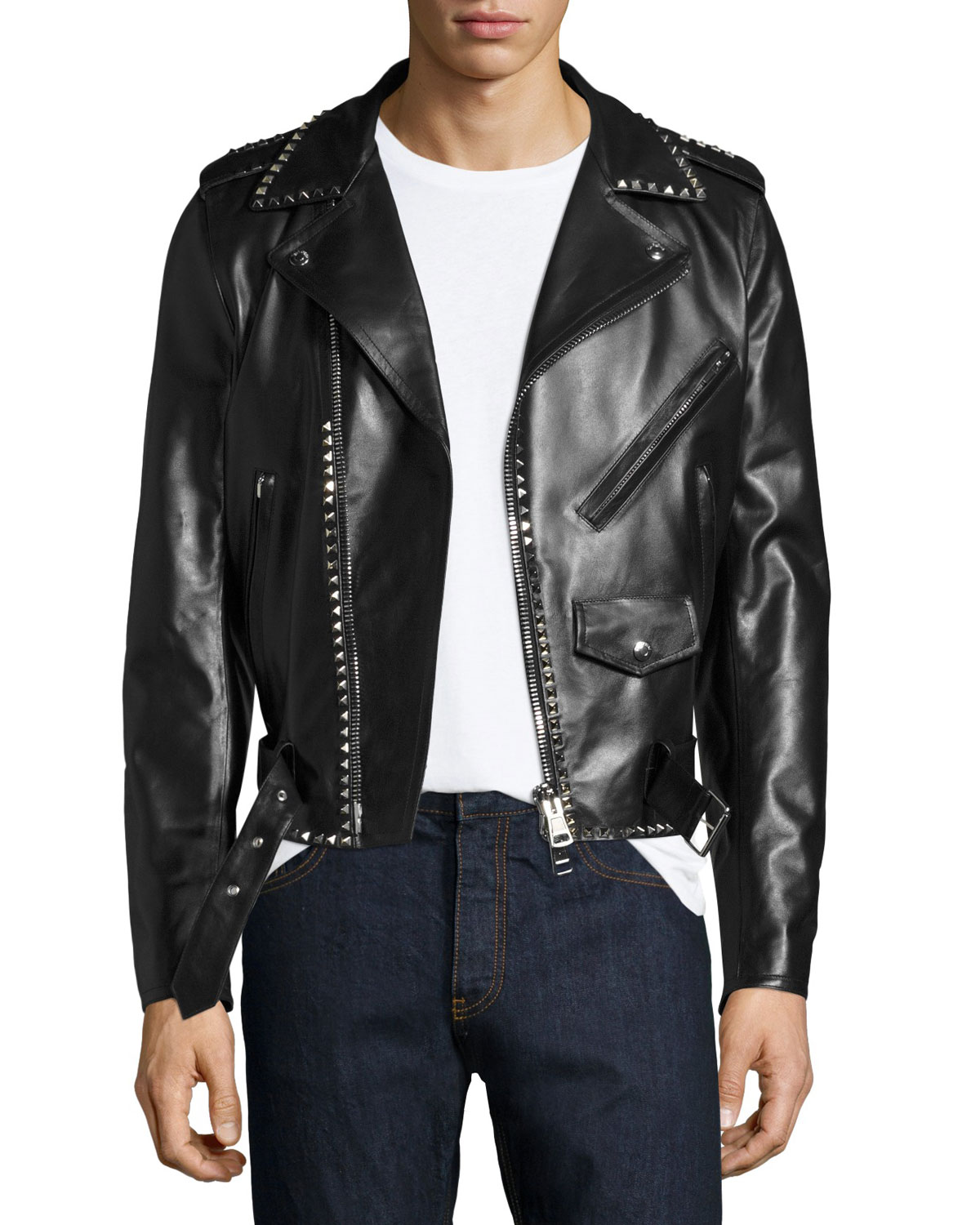 how to purchase best sneakers outlet Rockstud Leather Moto Jacket