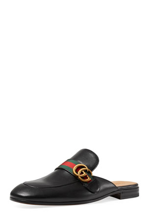 Gucci Princetown Leather Slipper with Double G, Black
