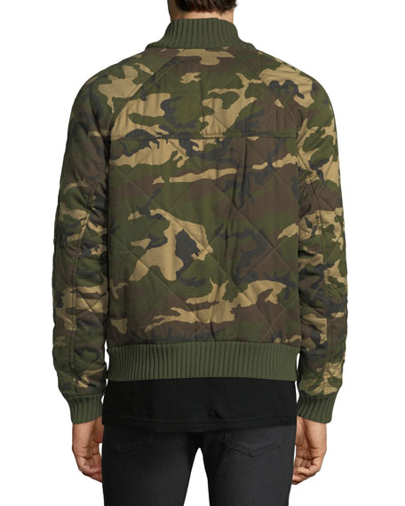 Quilted Camouflage Cotton Bomber Jacket