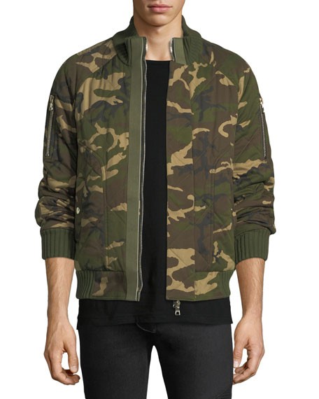 Balmain Quilted Camouflage Cotton Bomber Jacket