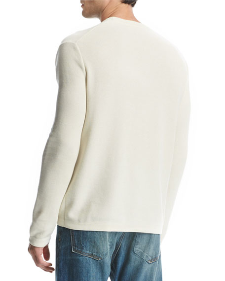 Reverse Tuck-Stitch Cotton Crewneck Sweater, Cream