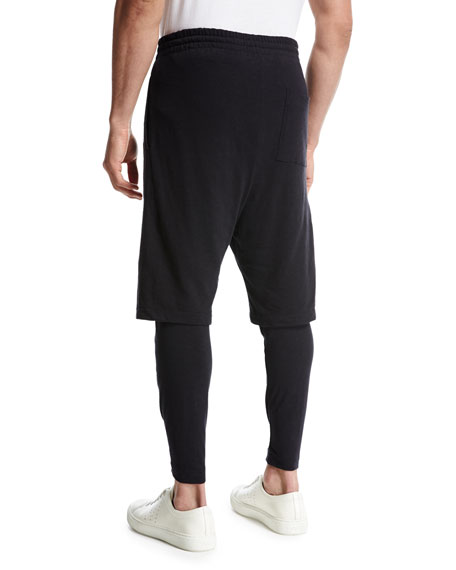 Double-Layer Lounge Jogger Pants, Black