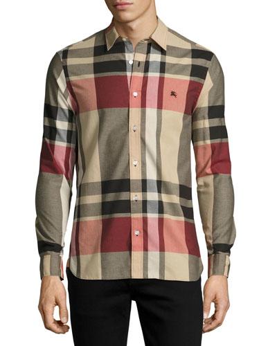 Coatson Check Cotton-Linen Shirt, Camel (Beige)