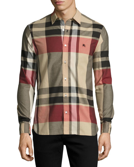 Burberry Coatson Check Cotton-Linen Shirt, Camel (Beige)
