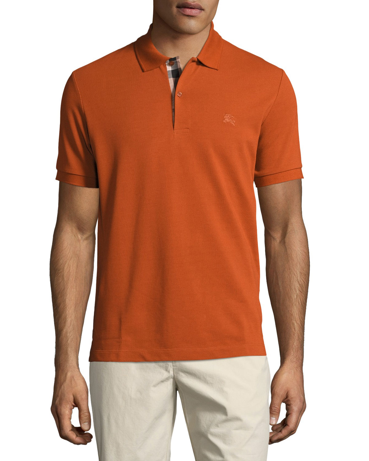 b37181515 Burberry Short-Sleeve Oxford Polo Shirt, Dark Orange | Neiman Marcus