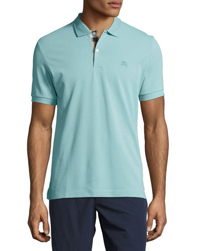 Short-Sleeve Oxford Polo Shirt, Light Blue
