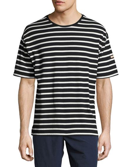 Totford Striped Cotton Oversized T-Shirt, Black/White