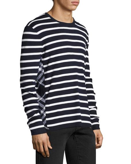 Burberry Northam Striped Cotton-Silk Long-Sleeve T-Shirt, Navy