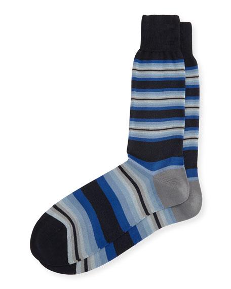 Tiger-Stripe Socks with Multicolor Band
