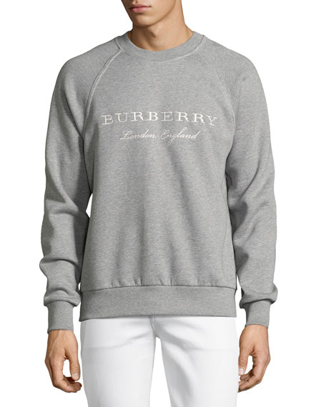 Burberry Taydon Embroidered Sweatshirt, Gray
