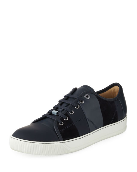 Lanvin Men's Striped Leather Low-Top Sneaker