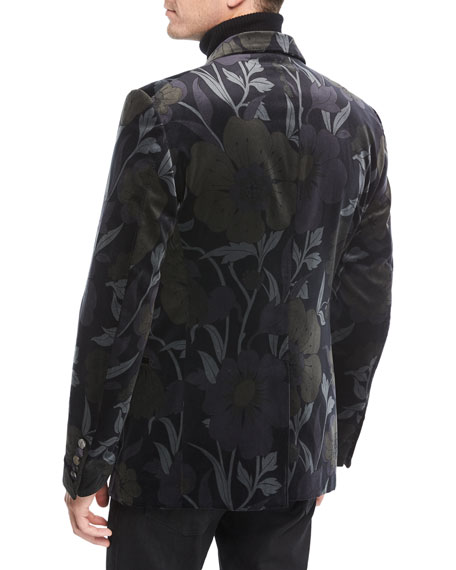 TOM FORD Shelton Floral-Print Velvet Dinner Jacket