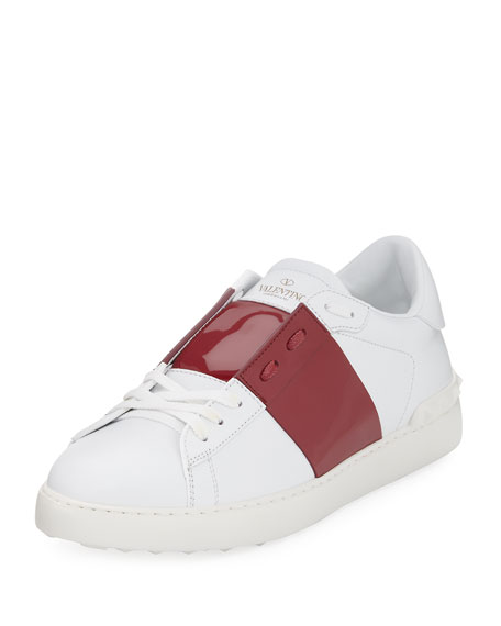 Valentino Garavani Leather Low-Top Sneaker with Patent Stripe,