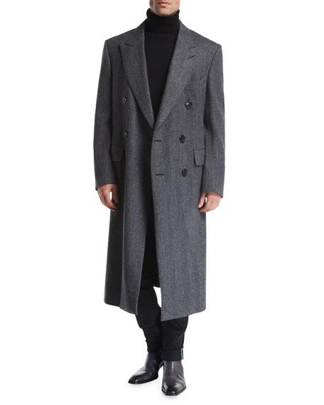 Double-Breasted Herringbone Top Coat