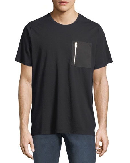 Zip-Pock Cotton T-Shirt, Black