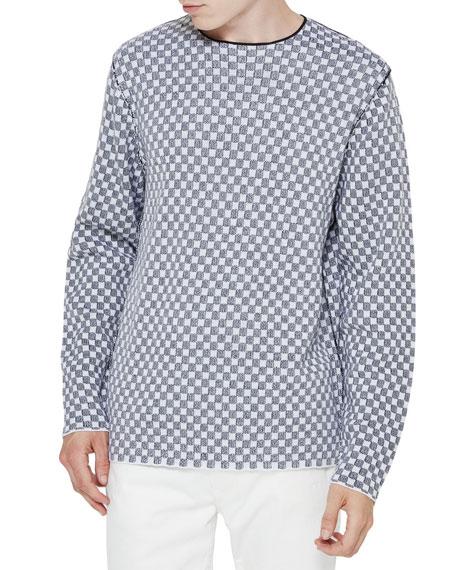 Checker Merino Wool Sweater, Black/White