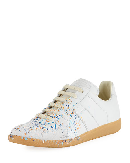 Maison Margiela Men's Replica Paint-Splatter Low-Top Sneakers