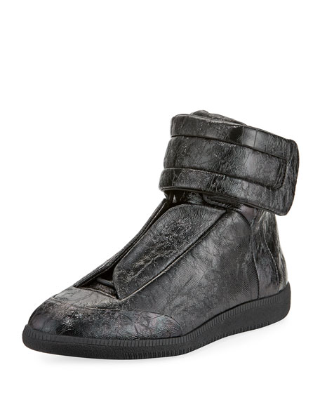 Maison Margiela Future Crackled Leather High-Top Sneaker
