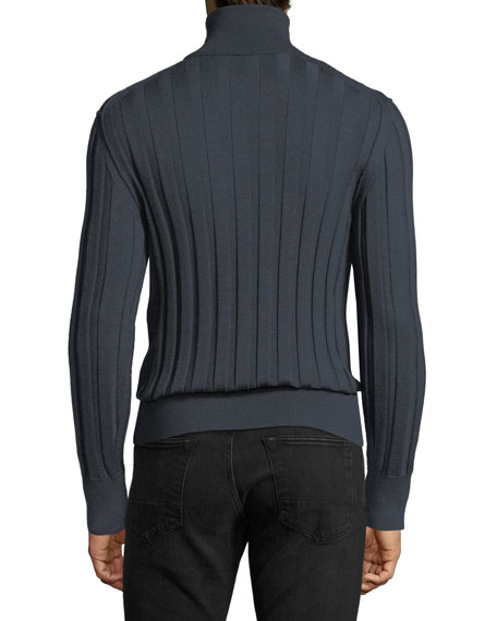 Cashmere-Silk Ribbed Turtleneck Sweater, Slate