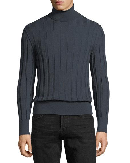 Cashmere-Silk Ribbed Turtleneck Sweater, Slate