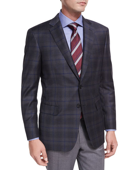 Brioni Windowpane Plaid Wool Two-Button Sport Coat