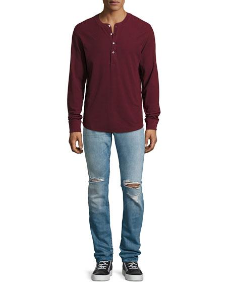 Paxtyn Distressed Skinny Jeans, Medium Blue