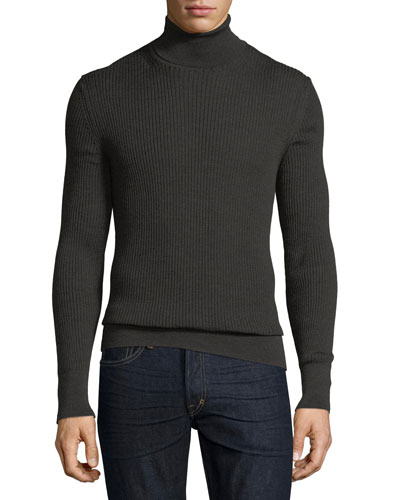 Merino-Silk Ribbed Turtleneck