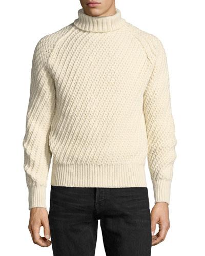 Cashmere-Wool Basketweave Turtleneck Sweater