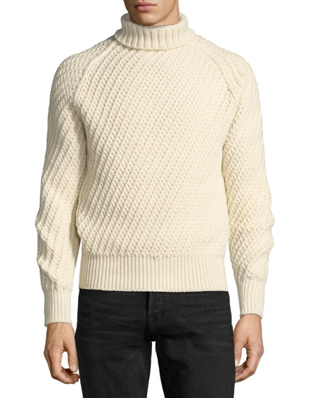 TOM FORD Cashmere-Wool Basketweave Turtleneck Sweater