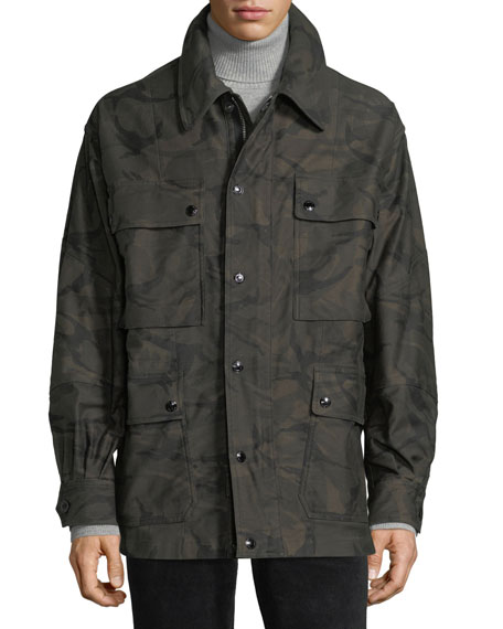 Image 3 of 3: Camouflage-Print Four-Pocket Oversized Jacket