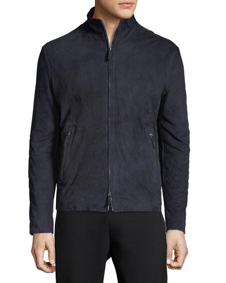 Suede Zip-Front Jacket w/ Microfiber Back