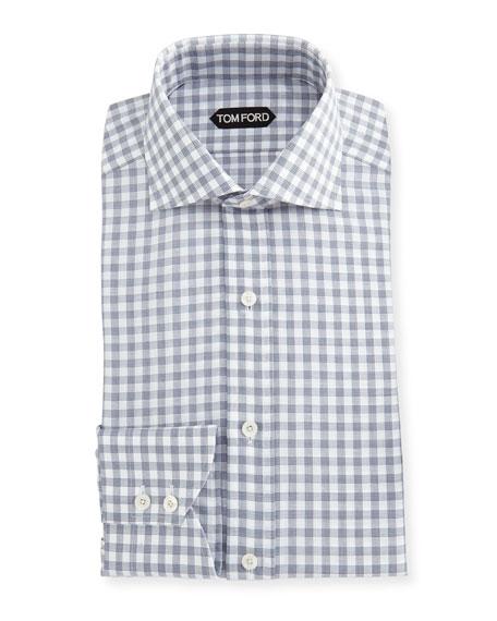 TOM FORD Check Cotton-Linen Dress Shirt