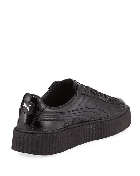 size 40 c008c 59926 x Fenty Puma by Rihanna Men's Cracked Leather Creeper Sneaker, Black