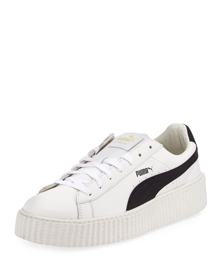 x Fenty Puma by Rihanna Men's Cracked Leather Creeper Sneakers, White