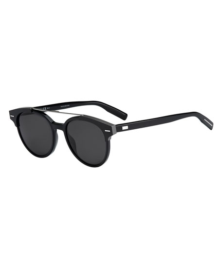 Dior Black Tie Round Metal-Bar Sunglasses